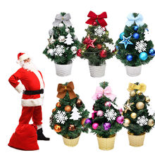 LED Artificial Tabletop Mini Christmas Tree Decorations Festival Miniature Tree 45cm Home Decoration Accessories Room Decor(China)