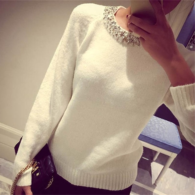 Spring Autumnn Winter 2016 Loose  Knitted Women Sweater Beading Fashion O-Neck Pure Color Casual Slim Ladies Cashmere Pullover