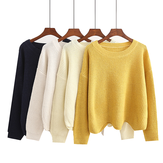 Harajuku Cute Thin White Ribbed Sweater O Neck Long Sleeve Korean Oversize Women Pullover Sweater Hem Waved Short Sueter Mujer
