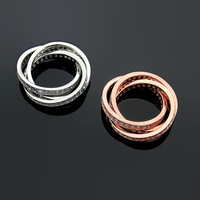 2019 Fashion brand titanium steel jewelry card three ring all stone ring rings for women love rings gift