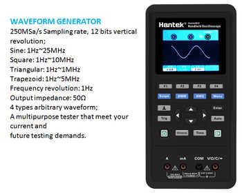 Hantek 3in1 Digital Oscilloscope+Waveform Generator+Multimeter USB 2 Channels Portable 40mhz 70mhz LCD Display Test Meter Tools