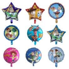 50 adet Oyuncak Folyo Balonlar 18 inç Karikatür süper Kahraman Woody Kaptan Buzz Hikaye Topları Doğum Günü Partisi Süslemeleri Çocuklar Helyum globos