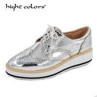 New Womens Winged Oxford Lace Up Striped Platform Metallic Silver Black Fashion Vintage Platform Bullock Flat Female Shoes 40 43