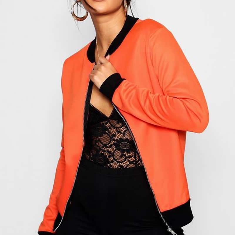 2018 Fashion Orange Women Coat Casual Wear Solid Zipper Round Neck Running Hot Style Women Streetwear   Basic     Jacket   Winter
