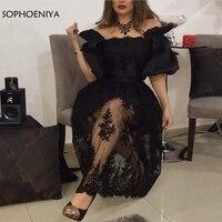 New Arrival Off the shoulder Black evening dress short 2019 Dubai Arbic party dress Formal evening gowns Lace Beaded dress
