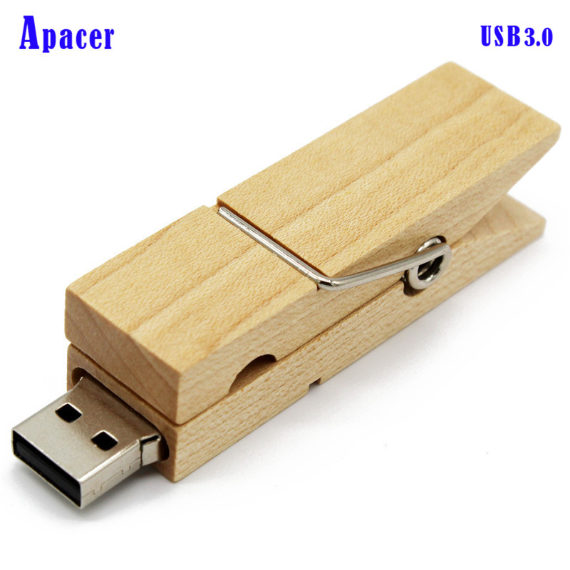 Apacer Wooden usb3.0 Clip USB Flash Drive 8gb 16gb 32gb 64gb Gift Disk On Key Pendrive