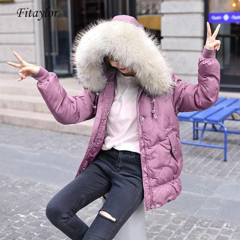 Fitaylor Winter Down Cotton   Parkas   Women Large Fur Collar Hooded Loose Jacket Cotton Padded Overcoat Casual Embroidery Outerwear