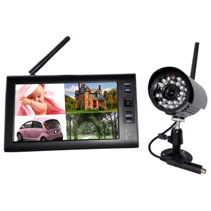 2.4Ghz Wireless Baby Monitor Kit Concluding 1-3Ch Digital Waterproof Bullet Camera and 7inch TFT LCD Monitor with QUAD Display wireless 7inch lcd monitor