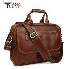 Портфель мужской из воловьей кожи винтажный чемоданчик для ноутбука