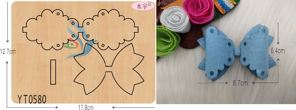 Blue lace bow with hole DIY new wooden mould cutting dies for scrapbooking Thickness 15 8mm