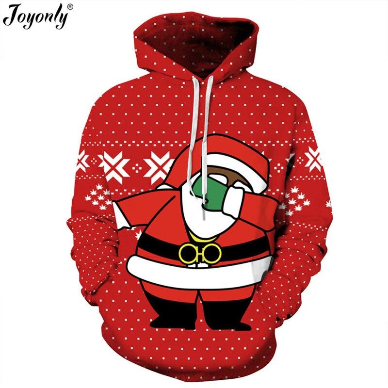 Joyonly New 2018 Christmas Red Hoodies Women Men 3d Sweatshirts Lovely Cartoon Santa Claus Spoof Funny Hooded Hoodie Casual Tops