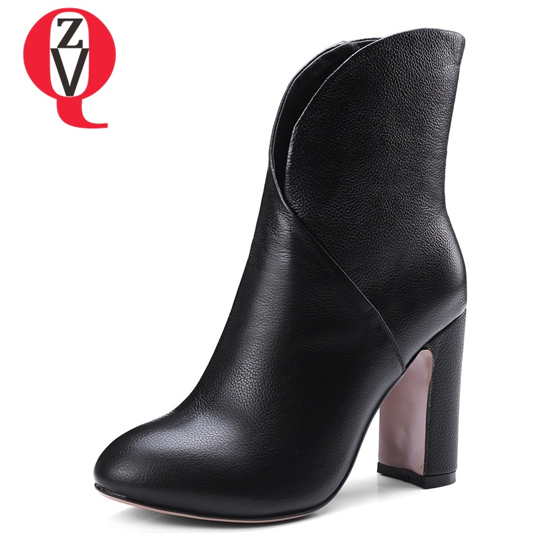 ZVQ women genuine leather fashion booties round toe 9.5 cm super high heels ladies winter spring black beige ankle boots black round toe side zippers heavy bottomed increased inner 12 cm slope heels naked boots discount women fashion wedges booties