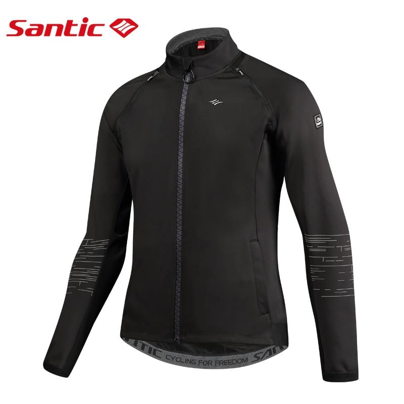 SANTIC Cycling jackets Men Mountain Bike Jackets Removable Sleeves Mandarin Collar Windbreaker Reflective Back Fleece Liner Tops button up mandarin collar asymmetrical paisley shirt