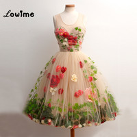 Chic Flower Cocktail Party Dress 2016 Couture Knee Length Graduation Dress For Teens Vestido De Formatura