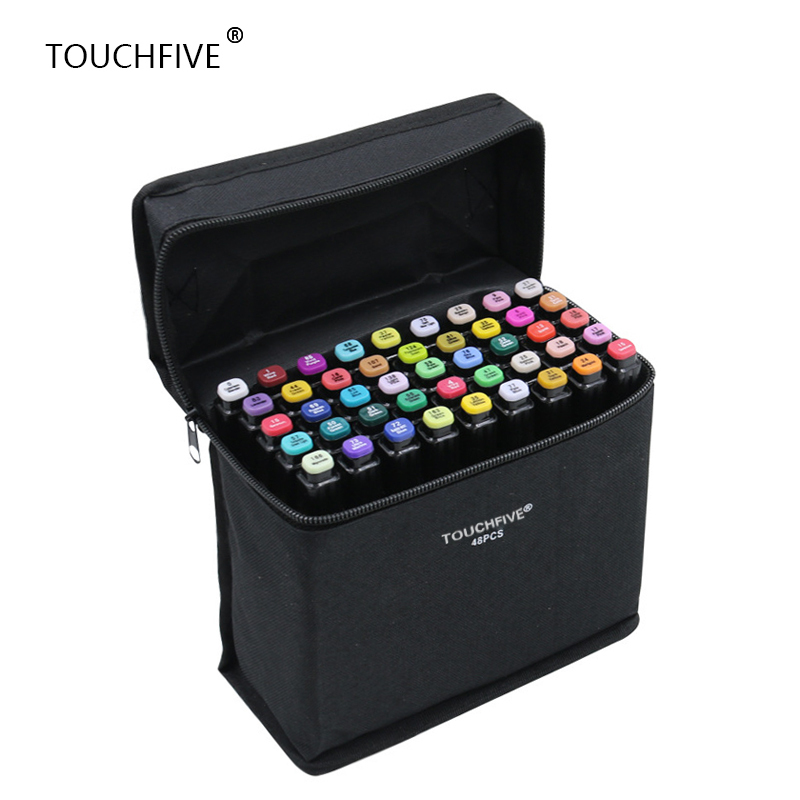 Touchfive 30/40/60/80/168Colors Pen Marker Set Dual Head Sketch Markers Brush Pen For Draw Manga Animation Design Art Supplies touchnew 36 48 60 72 168colors dual head art markers alcohol based sketch marker pen for drawing manga design supplies