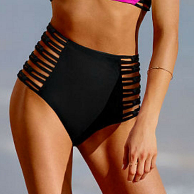 Hot Women Vintage Bikini Panties High Waist Swimwear Bottom Floral Print Hollow Bandage Swimsuit Bathing Suit Shorts Monokini