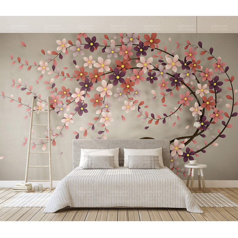 Flowers Wall Wallpapers Design For Your Bedrooms Decorating: Hotel Home Decor Wall Papers 3d Wall Art Flowers Tree