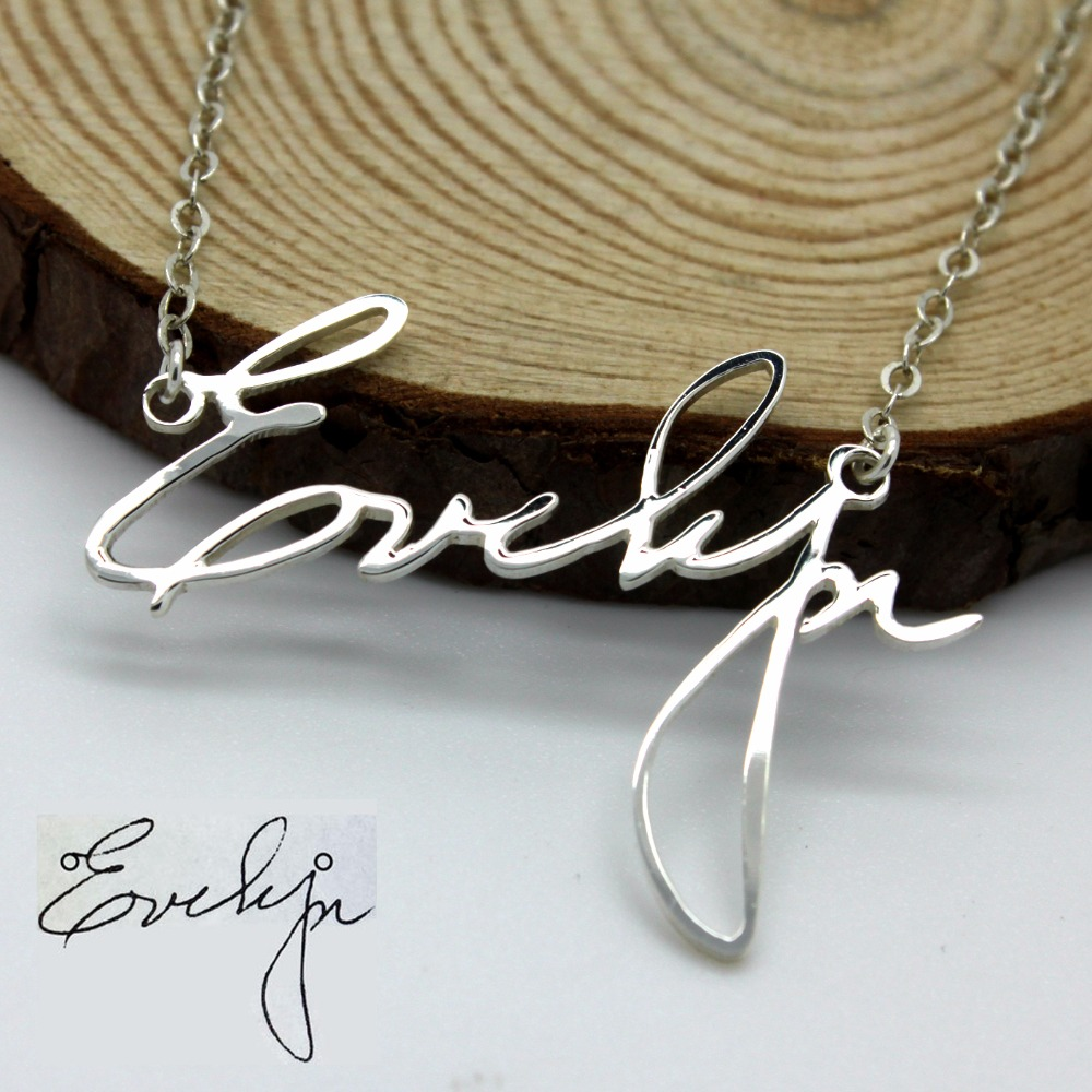 Personalized 18th Birthday Necklace Initial Custom: Custom Handwriting Necklace Personlized Name Necklace