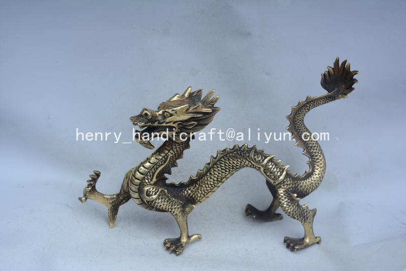 Antique QingDransty laiton en cours d'exécution dragon statue, décoration, Collection et parure, livraison gratuite
