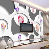 Modern Background Large Painting Circle Crystal Ball Murales De Pared 3d Wallpaper Hotel Badroom Mural For