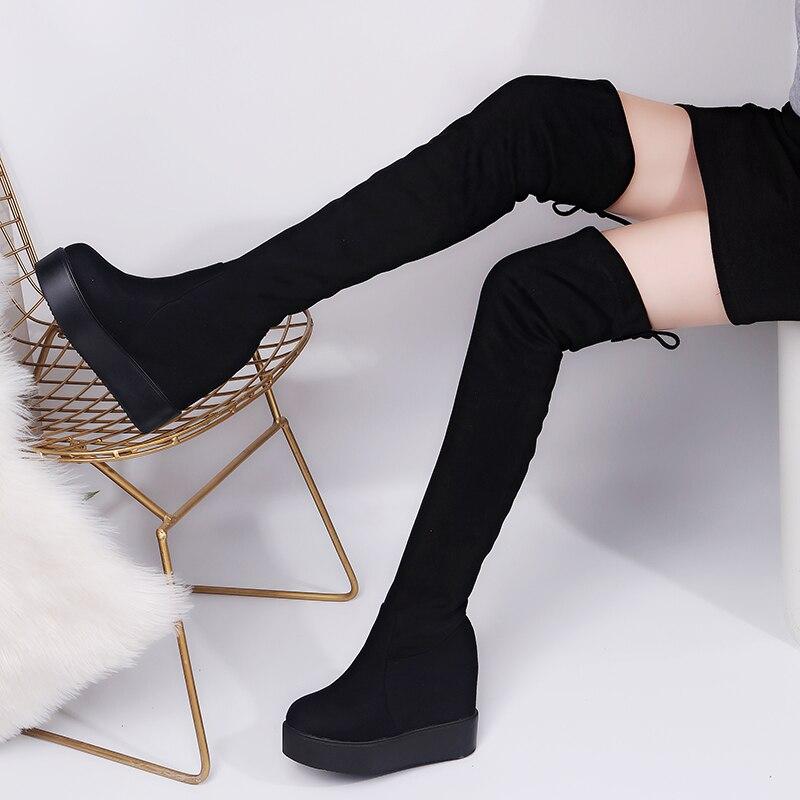 مثير الفخذ أحذية عالية الشتاء منصة أحذية النساء فوق الركبة الأحذية الجلد المدبوغ أحذية طويلة عالية الكعب الفراء أفخم حذاء بكعب ويدج امرأة-في أحذية فوق الركبة من أحذية على