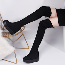 купить Sexy Thigh High Boots Winter Platform Boots Women Over the Knee Boots Suede Long Boots High Heels Fur Plush Wedge Shoes Woman по цене 1563.15 рублей