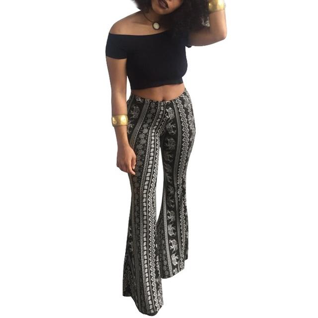 Модные широкие брюки расклешенные брюки Для женщин Boho Printed Bell Нижние штаны Высокая Талия Винтаж Женская Летняя туника штанины внизу