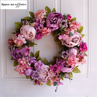 Easter Wreath Light purple Flower Natural Rattan Garland Retro Door Wall Decoration Peony Artificial Wreath Wedding Decor