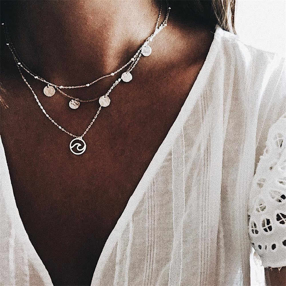Simple Design Silver Color Wave Choker Necklaces & Pendants For Women Sequins Pendant Multilayer Necklace Waves Chokers A236