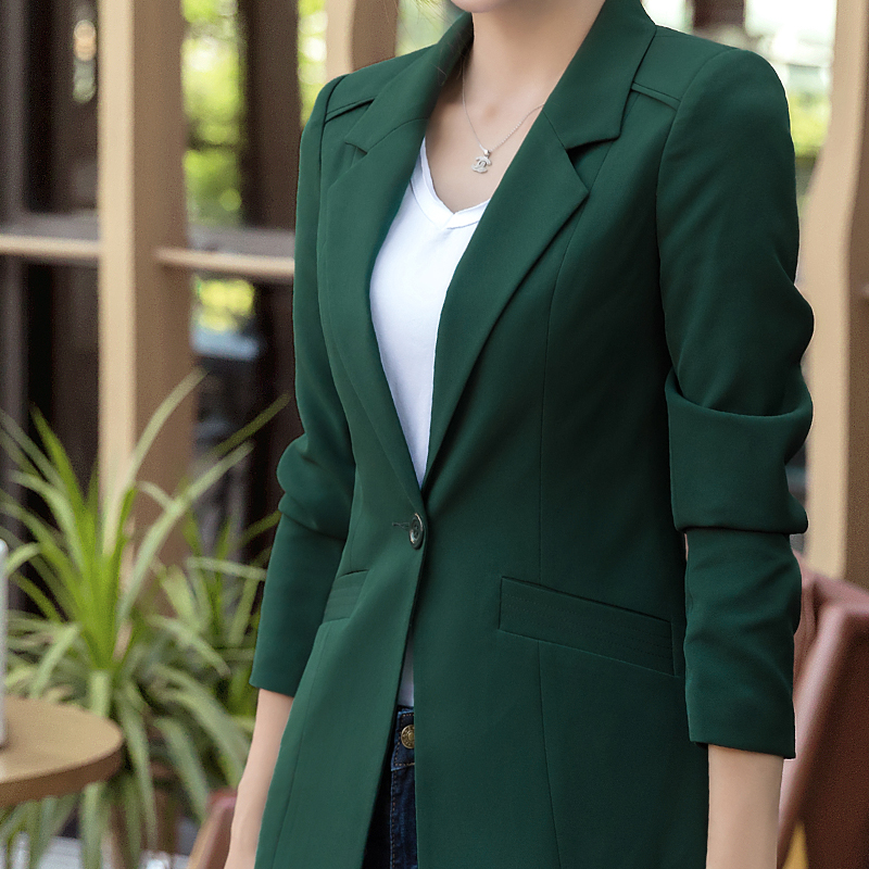Women Elegant Green Pink White Long Blazer Sleeve Jacket ...