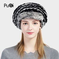 Pudi HF708 kobiety futra cap kapelusz z dzianiny 2017 zima w nowym stylu rosja dziewczyny prawdziwe Rex rabbit fur pas armii beret czapki Leopard kolor