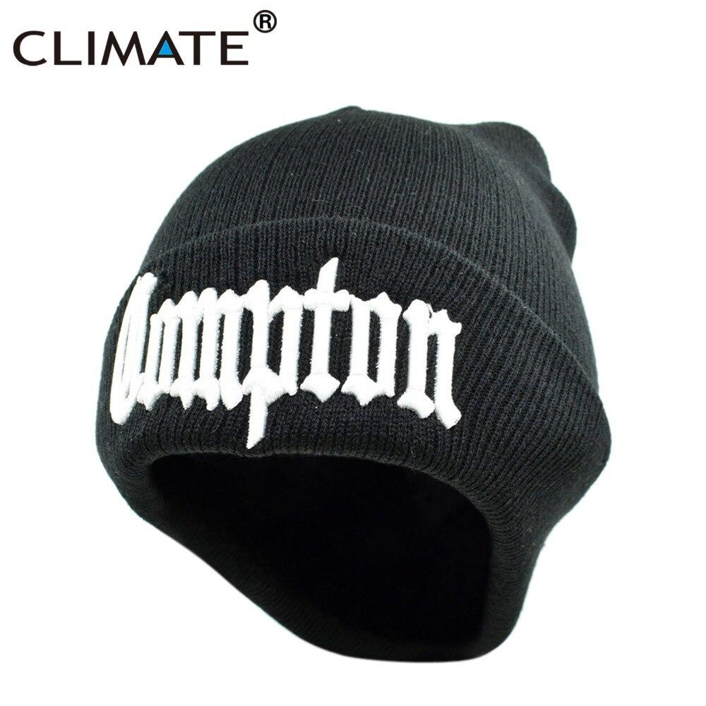 CLIMATE Compton Winter Warm Beanie Hat COMPTON Black Knit Skullies Beanie Casual Cool Black Hip Hop Warm Hat For Men Women ralph compton ralph compton train to durango