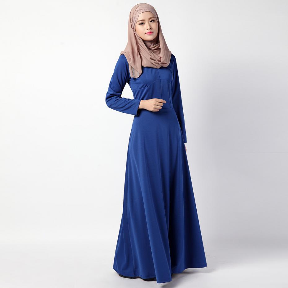 cd5c163ca6 iRicheraf Muslim Dress 2017 Women Long Sleeve Cotton Maxi Dresses Folk  Style Vintage O-neck Solid Clothing Vestidos Hot Sale M,L