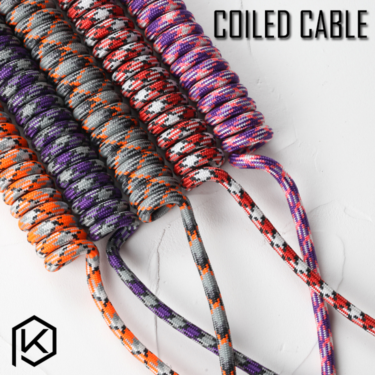 Nylon Coiled Cable Wire Mechanical Keyboard GH60 USB Cable Mini USB Port For Poker 2 GH60 Keyboard Kit DIY