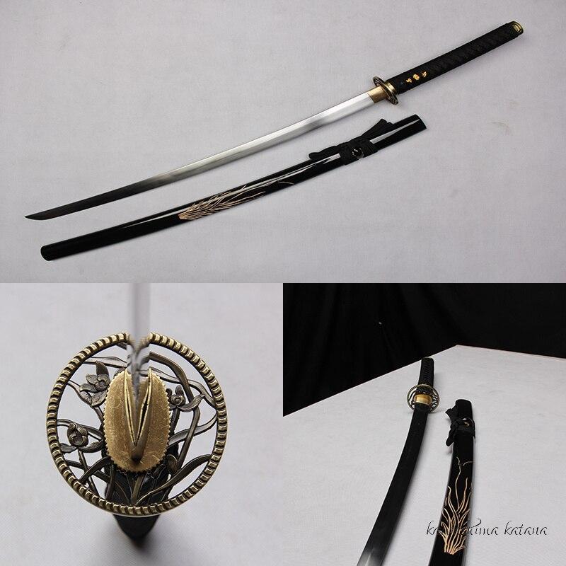 Традиционная Ручная Работа Винтаж Углеродистой Стали Четыре Господа Орхидея Samurai Sword Катана Sharp Edge