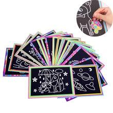 10 piezas 13×9,8 cm papel de Arte de rascar papel de pintura mágica con palo de dibujo para niños juguete dibujo colorido juguetes