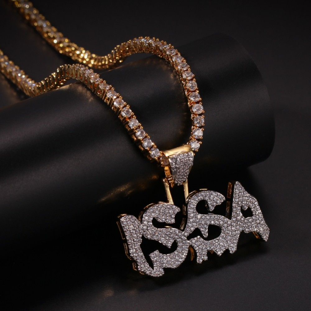 Uwin Letter ISSA Pendant Cubic Zirconia Micro Paved CZ Bling Iced Out Cool Charm Necklace For Men Jewelry in Chain Necklaces from Jewelry Accessories