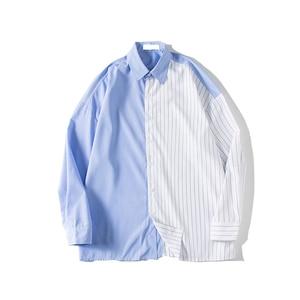 Image 5 - 2018 한국어 스타일 새로운 남성 패션 트렌드 세로 스트 라이프 느슨한 캐주얼 블루/블랙 긴 소매 고품질 셔츠 크기 M XL