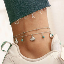 Cute Sea Shell Anklets Bracelets Charm Double Layer Silver Color Anklet Chain Leg Bracelet For Women Beach Accessories chic solid color double layer anklet for women