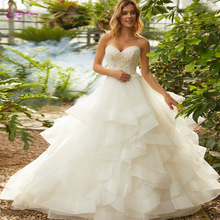 Waulizane Strapless A Line Ivory Color Wedding Dresses With Delicated Beading Pearls Puffy Skirt Princess Gown