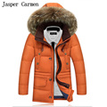 New Men's Outwear Down Jacket Men's Thickened Fur Collar Hooded Down Jacket Fashion Slim Winter Thick Coat WN 165