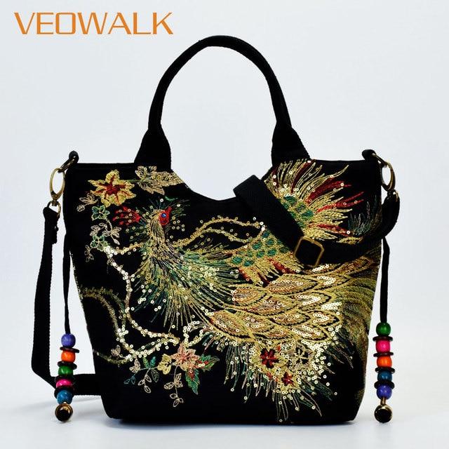 Veowalk Shiny Sequins Peacock Embroidered Women Canvas Totes Bag, Summer Shopping Shoulder Bag Vintage Beaded String Handbag 1