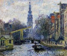 Art for office space Canal in Amsterdam Claude Monet Paintings High quality hand painted