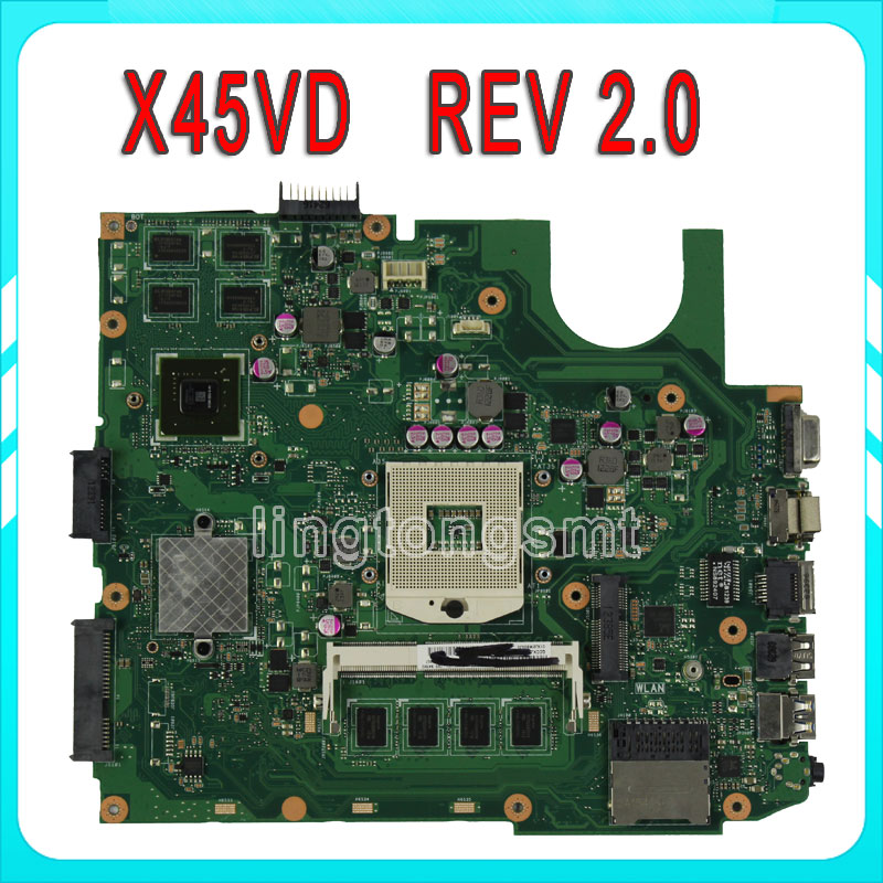 Original X45VD for ASUS laptop motherboard X45VD REV2.0 Mainboard GeForce GT610M with 1GB DDR3 VRAM 100% tested k73ta for asus k73t x73t k73ta k73tk r73t latop motherboard rev 1a qbl70 la 7553p hd7670m 1gb mainboard 100% tested ok