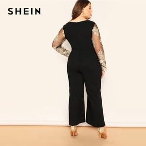Image 2 - SHEIN Zwart Plus Size Geborduurde Contrast Mesh Lijfje Wijde Pijpen Vrouwen Vlakte Jumpsuits Diepe V hals Casual Longline Jumpsuit
