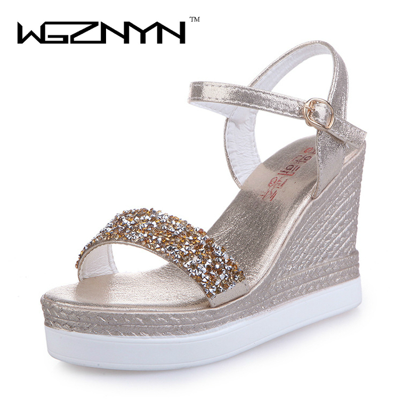 WGZNYN 2017 Summer New Arrival Ankle Buckle Strap High Heel Sandals Women Gold Silver Sandals Fashion Ladies Summer Shoes KD0403 size 30 43 woman ankle strap high heel sandals new arrival hot sale fashion office summer women casual women shoes p19266