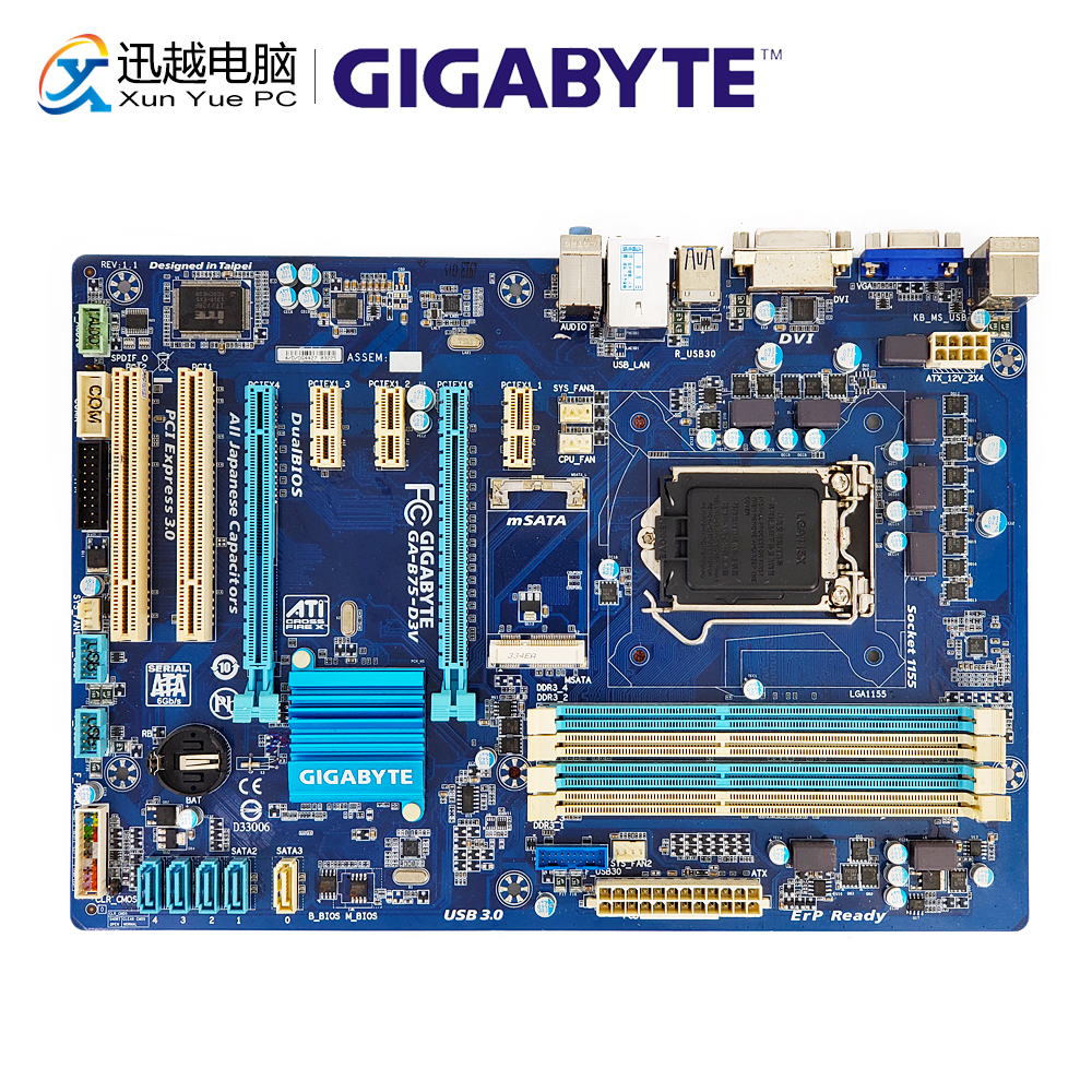 Gigabyte GA-B75-D3V Desktop Motherboard B75-D3V B75 Socket LGA 1155 i3 i5 i7 DDR3 32G SATA3 USB3.0 VGA DVI ATX b75 pro3 large panel 4 ram slot motherboard sata3 0 a 1155 e3 1230 v2 i5 3470