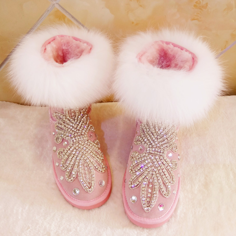 Luxury design Rhinestone shoes women 2018 winter bling bling crystal flats mid-calf boots fur decor snow boots for girls newest top selling 2016 luxury high quality white bling bling crystal fur inside winter snow boots top designer women mid calf boots