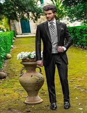 Handsome One Button Black Groom Tuxedos Groomsmen Men's Wedding Prom Suits Bridegroom (Jacket+Pants+Vest+Tie) K:810