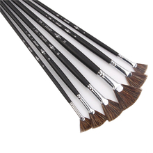 6pcs/Set Special offer Wild Boar Bristle brush pen set fan shape art supplies painting oil Student Stationery